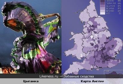 Платье танцующей цыганки похоже на карту Англии