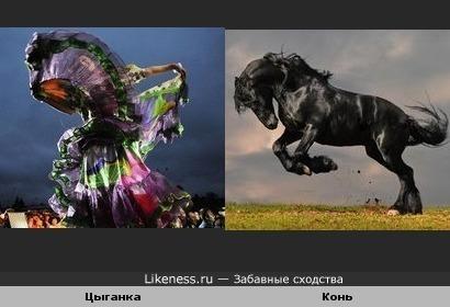 Платье танцующей цыганки похоже на коня