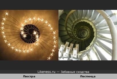 Люстра похожа на лестницу