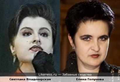 Светлана Владимирская похожа на Елену Голунову