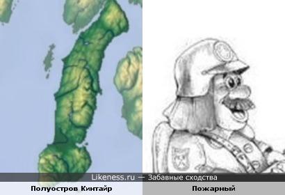 Полуостров Кинтайр похож на профиль улыбающегося пожарного