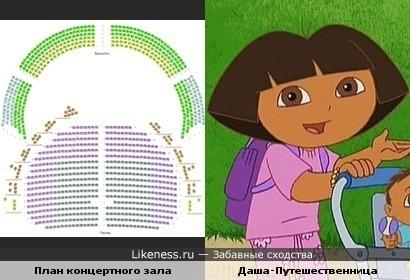 План концертного зала похож на Дашу-Путешественницу