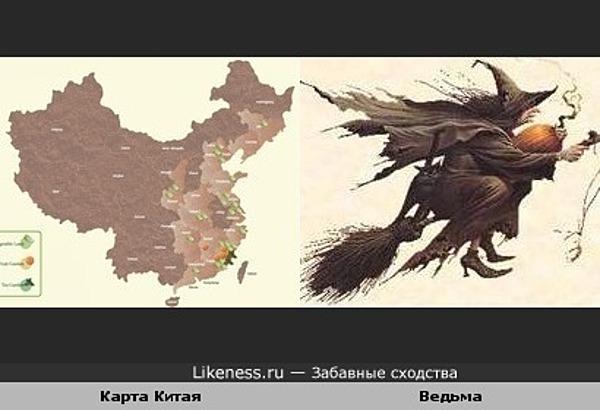 Карта Китая похожа на ведьму на метле