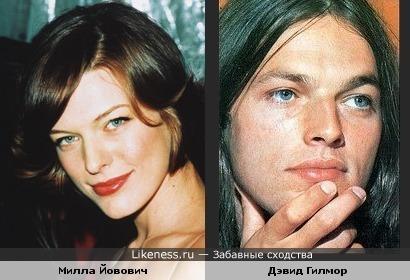 Милла Йовович похожа на Дэйва Гилмора (может быть на этих фото не так заметно, но сходство определённо есть))