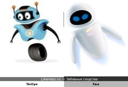 Талисман TinEye напоминает Еву (Wall-E)