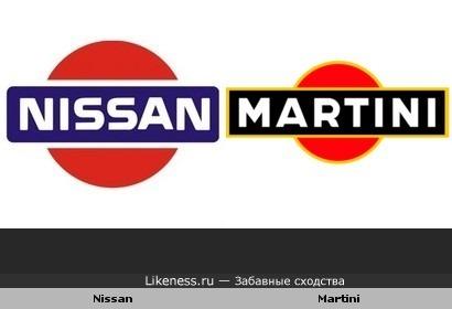 "Старый логотип ""Ниссан"" и ""Мартини"""