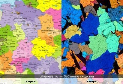 Политическая карта и кварц под микроскопом