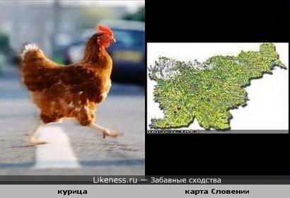 Карта Словении похожа на бегущую курицу