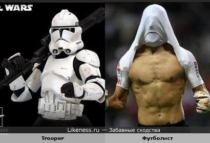 Trooper похож на футболиста