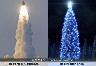 Взлет космического корабля напомнил новогоднюю елку