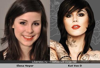 Победительница евровидения Elena Meyer похожа на мастера татуировок Kat Von D