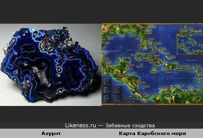 Азурит и карта Карибского моря