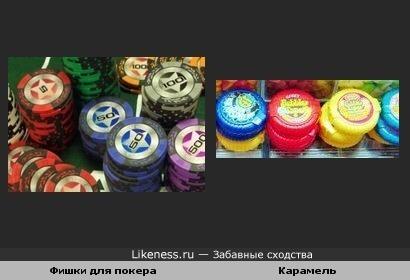 Фишки для покера и карамель