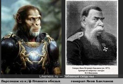 Персонаж из к/ф Планета обезьян и генерал Яков Бакланов