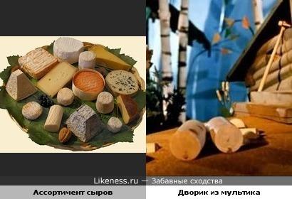Ассортимент сыров и Дворик из мультика