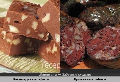 Шоколадная конфета и Кровяная колбаса