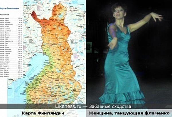 Карта Финляндии и женщина, танцующая фламенко