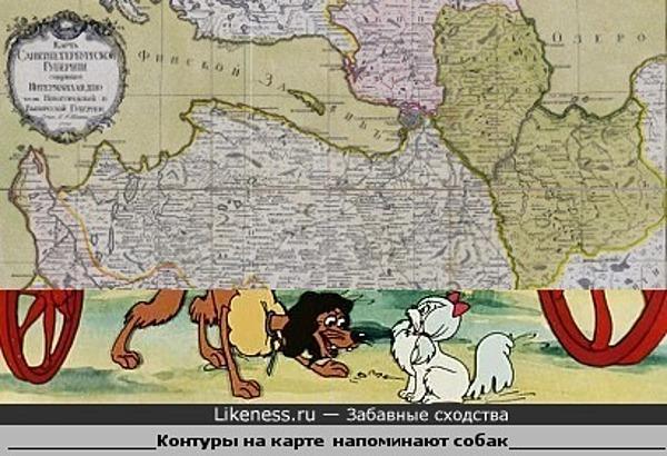 """Карта Санкт-Петербургской губернии и персонажи мультфильма """"Пес в сапогах"""""""