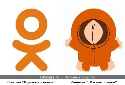 Логотип социальной сети «Одноклассники» и персонаж мультсериала «Южный парк» Кенни Маккормик