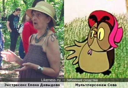 Участница 17-го сезона «Битвы экстрасенсов» Елена Давыдова похожа на Сову из советского мультфильма про Винни-Пуха