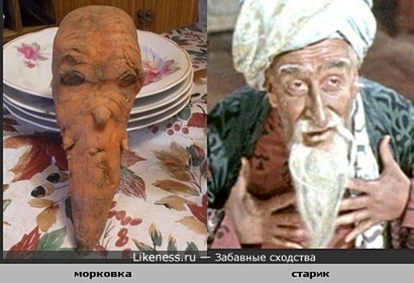 Морковка похожа на старика