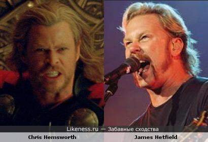 Крис Хесмворт в роле Тора похож на Джеймса Хетфилда