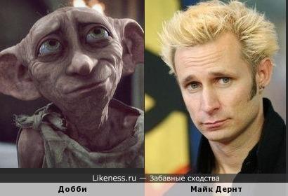 Добби из Гарри Поттера похож на Майка Дернта из Green Day