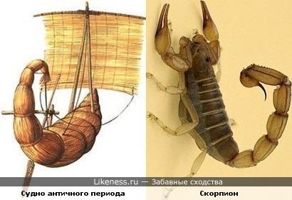 Судно античного периода похоже на скорпиона
