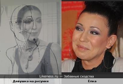Девушка на рисунке и Ёлка