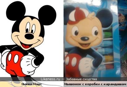 Микки Маус и Мышонок с коробки с карандашами