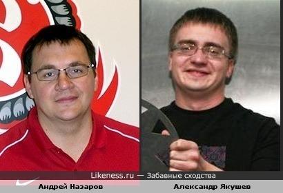 "Андрей Назаров (тренер ХК ""Витязь"") и Александр Якушев (КВН ""Прима"")"