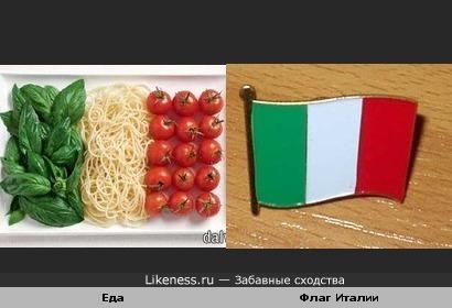 Еда на тарелке похожа на флаг Италии