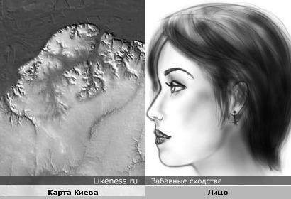 Карта Киева похожа на лицо