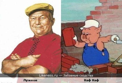 Лужков похож на поросенка Наф Нафа (тоже чето строил все время)))