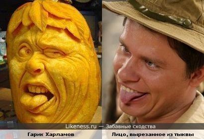Лицо, вырезанное из тыквы напомнила Гарика Харламова.