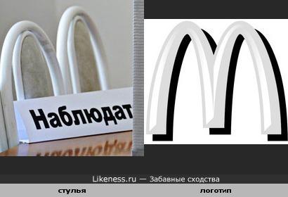 Спинки стульев и логотип...