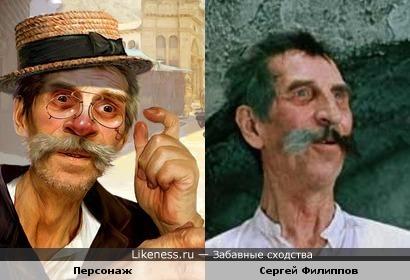 Персонаж с иллюстрации к рассказу О. Генри напомнил Сергея Филипповав роли Кисы Воробьянинова.