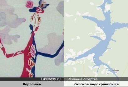 """Очертания на карте Камского водохранилища напомнили персонаж из мультфильма """"Голубой щенок""""."""
