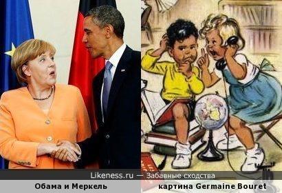 Эта картина напоминает Обаму и Меркель
