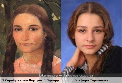 Женский портрет З.Серебряковой и актриса Глафира Тарханова