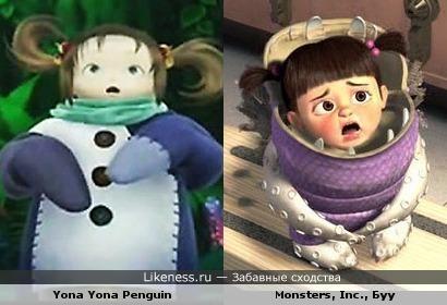 Девочка из аниме похожа на Буу из Корпорации Монстров