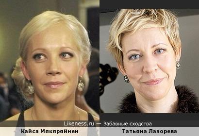 Биатлонистка Кайса Мякяряйнен и Татьяна Лазорева