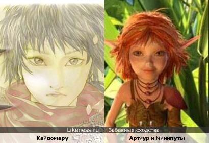 Персонаж и мультфильма Кайдомару и принцесса Селения похожи