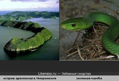 Остров архипелага Микронезия похож на змею