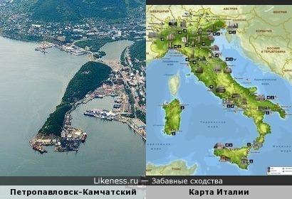 Петропавловск-Камчатский напоминает карту Италии