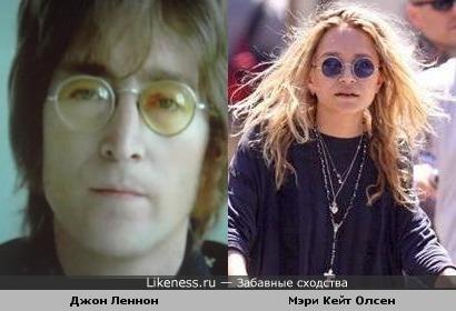 Мэри Кейт Олсен похожа на Джона Леннона (не воспринимайте всерьез,просто смешная фото)))