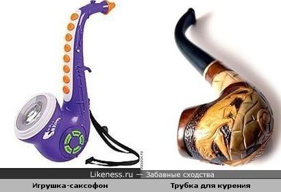 электронная игрушка-саксофон похожа на трубку для курения