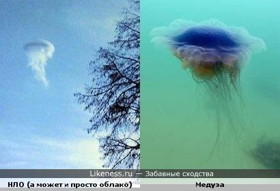 НЛО в небе похоже на медузу