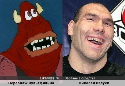 Персонаж мультфильма и Николай Валуев