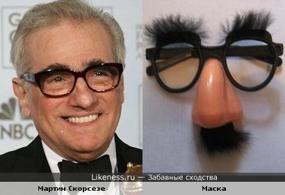 Лицо Мартина Скорсезе и маска с очками и носом))